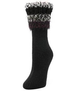 Bellevue Furry Cuffed Crew Socks | Women's Boot Socks by Memoi | Black LF7-5231