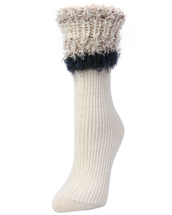 Bellevue Furry Cuffed Crew Socks | Women's Boot Socks by Memoi | Vanilla LF7-5231