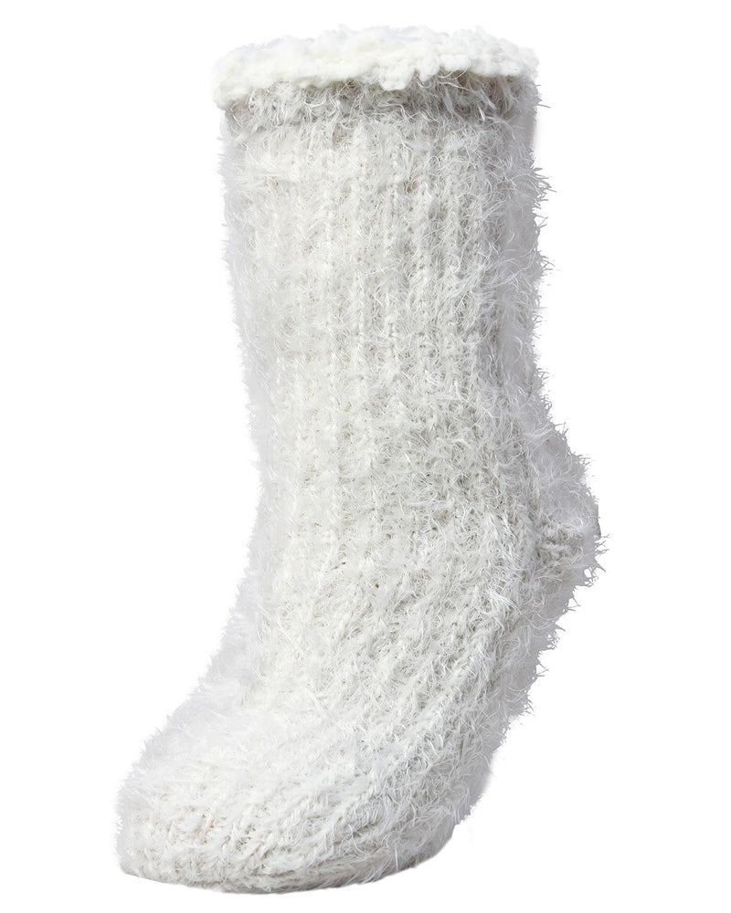 MeMoi Furry Sherpa Winter Crew Socks | MeMoi Women's Plush Winter Sock Collection | Fuzzy Warm Socks for Winter |  Calcetines calientes para el invierno -LF7-5762 Ivory-