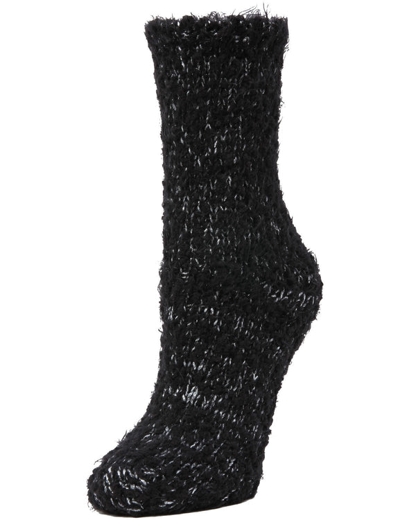 Fuzzy Yarn Classic Crew Socks | Women's Plush Winter Socks by Memoi | Black LF7-6100