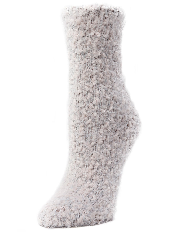 Fuzzy Yarn Classic Crew Socks | Women's Plush Winter Socks by Memoi | Dusty Peach LF7-6100