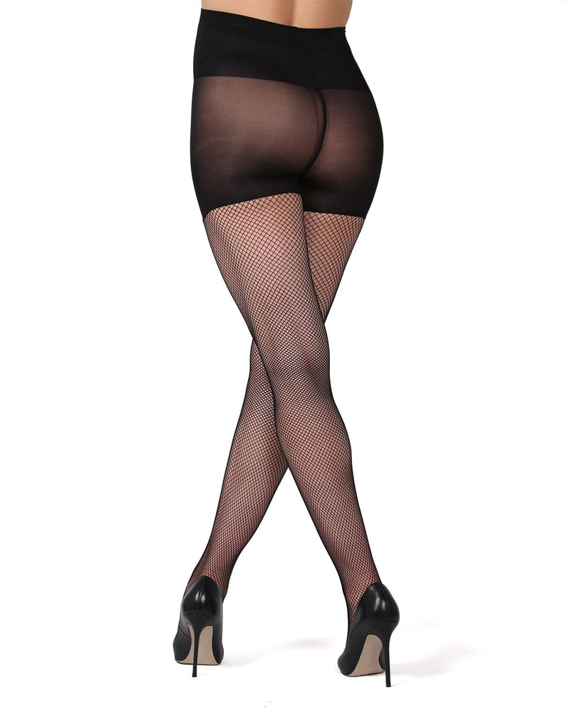 MeMoi Maternity Fishnet Tights | Pregnancy Support Hose | Pantyhose de maternidad Fishnet | Black MA-412 (Rear)