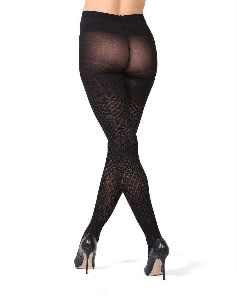 MeMoi Argyle Maternity Tights | Pregnancy Support Hose | Hosiery - Pantyhose (Rear) | Black MA-418
