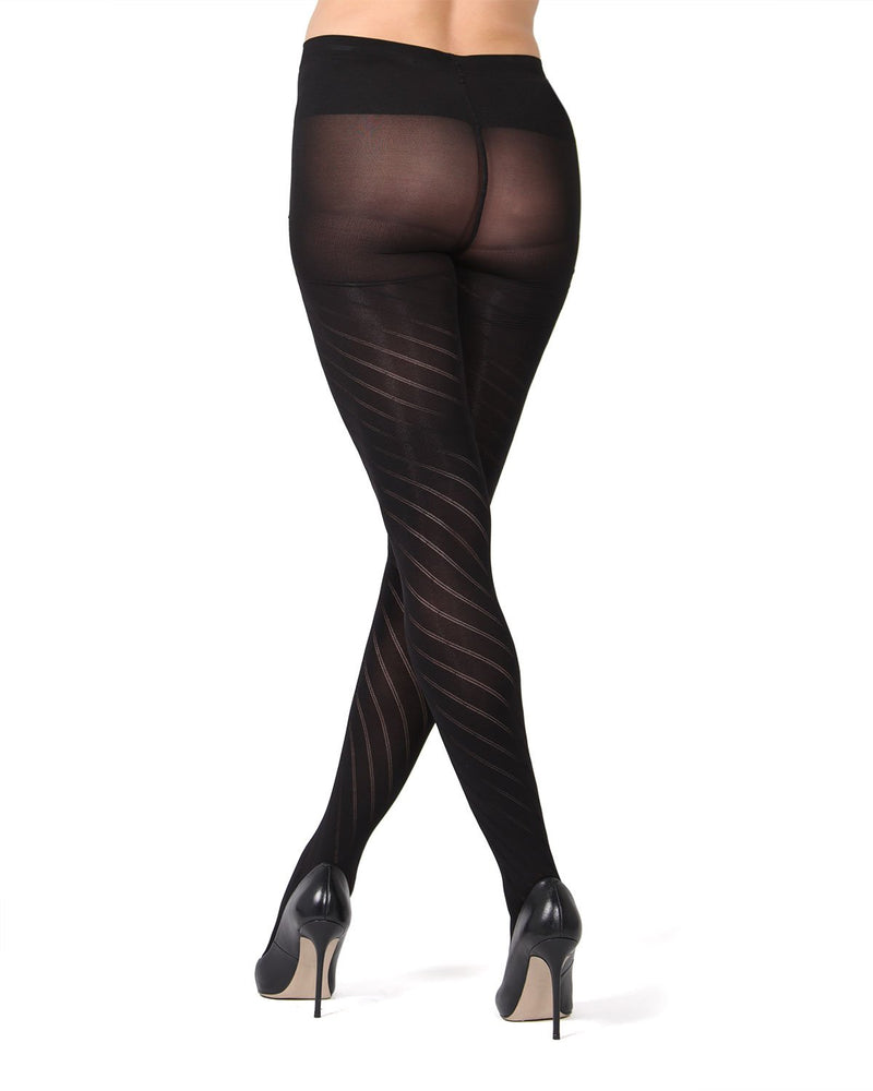 MeMoi Spiral Patterned Microfiber Maternity Tights | Pregnancy Support Hose | Hosiery - Pantyhose (Rear) | Black MA-420