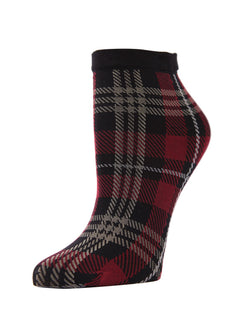 MeMoi Perfect Plaid Anklet Socks | Women's Premium Ankle Fashion Socks | Red & Black Plaid MAF02188-Blk-OS