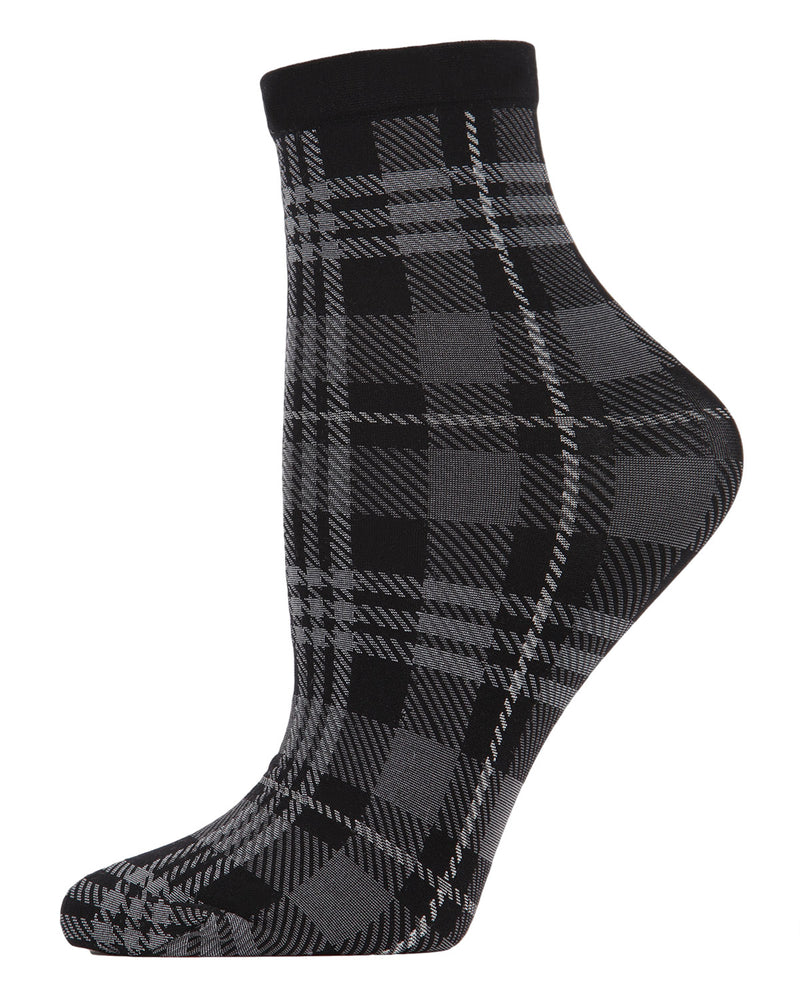 Perfect Plaid Anklet Socks | womens fashion socks by MeMoi | womens clothing | MAF02188-99854-OS black gray