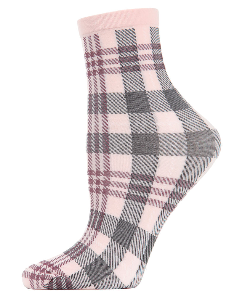 Perfect Plaid Anklet Socks | womens fashion socks by MeMoi | womens clothing | MAF02188-65810-OS dusty rose -1