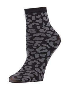 MeMoi Leopard Anklet Socks | Women's Premium Fashion Anklet Socks | Calcetines de estampado de animales de las mujeres | #SockGame | womens clothing | MAF02190-Blk-OS black
