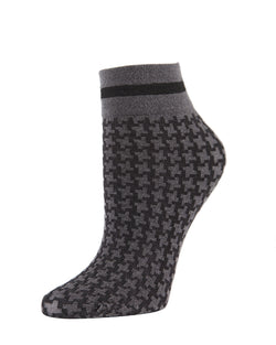 Houndstooth Anklet Socks | womens fashion socks by MeMoi | womens clothing | MAF02191-Blk-OS medium gray