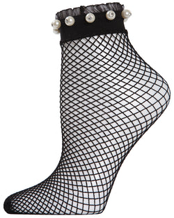 MeMoi Pearl Ruffle Cuff Fishnet Anklet | Women's Fashion Socks | Black MAF04533