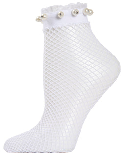 MeMoi Pearl Ruffle Cuff Fishnet Anklet | Women's Fashion Socks | White MAF04533