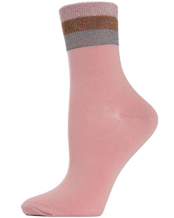 MeMoi Moon Stripe Anklet Socks | Women's Cute Fun Fashion Ankle Socks | Misty Rose MAF04544