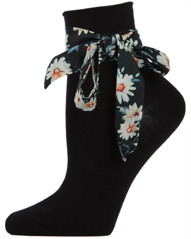 Bonny Ribbon Anklet | Women's Cute Fun Fashion Ankle Socks | Black MAF04545
