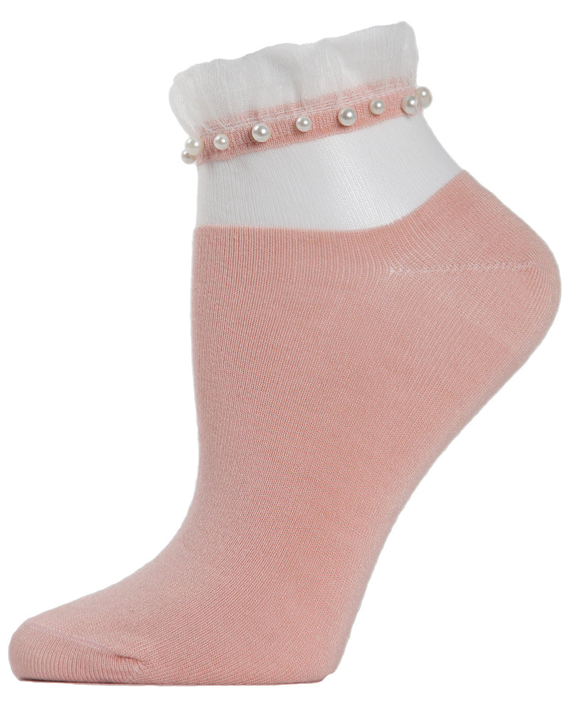 Sheer Ruffle Cuff Pearl Anklet