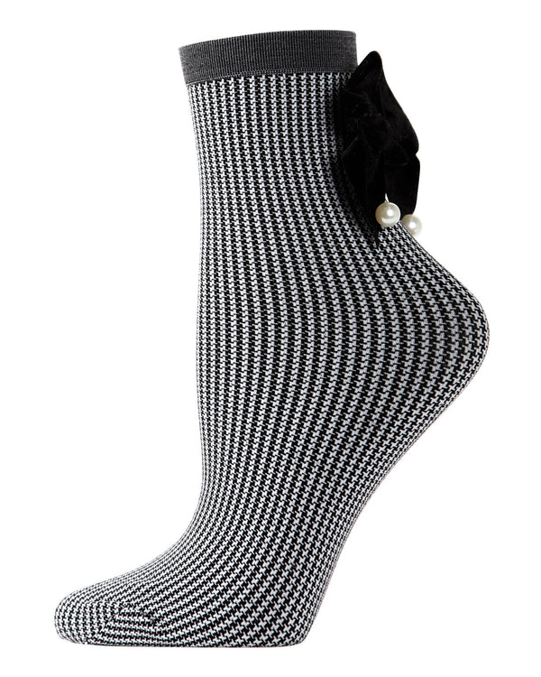 Houndstooth Pearl Bow Anklet Socks | Women's Fashion Anket Socks by MeMoi | Black MAF05357