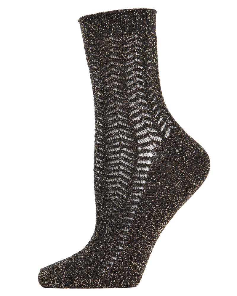 Metallic Ivy Pointelle Anklet Socks | womens fashion socks by MeMoi | womens clothing | MAF05360-00001-9-11 black -1
