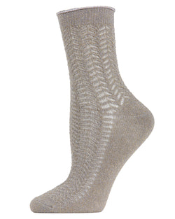 Metallic Ivy Pointelle Anklet Socks | womens fashion socks by MeMoi | womens clothing | MAF05360-04012-9-11 silver -1