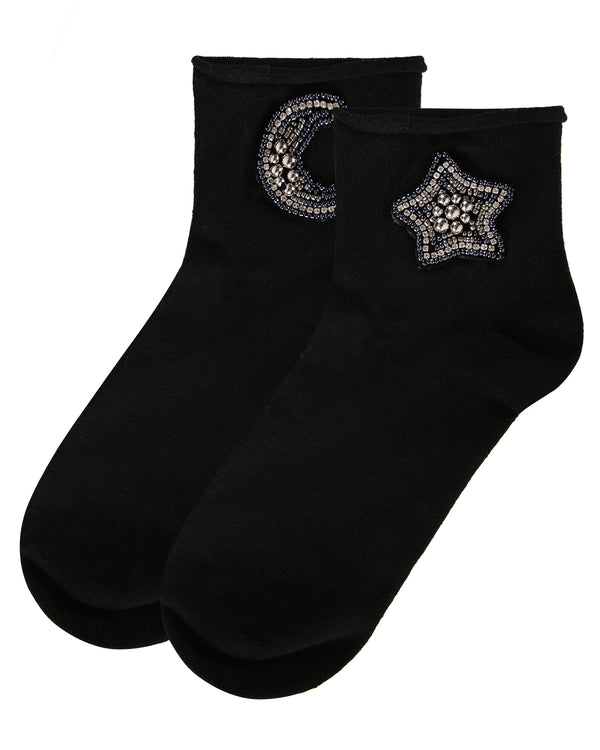 Moon & Star Roll Top Shorties Socks | Shorties Socks | MAF06078 | Black 1