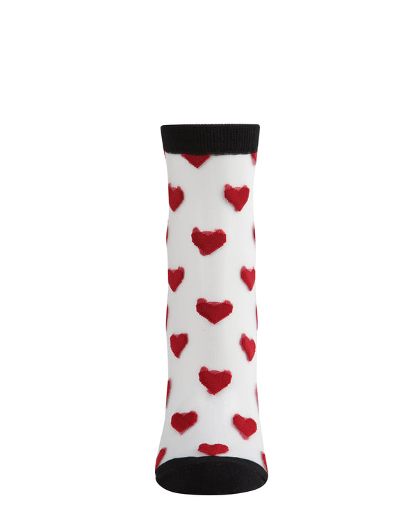 Hearts Mono Fine Net Anklet Socks | Anklet socks | MAF06082 | Black Red 1