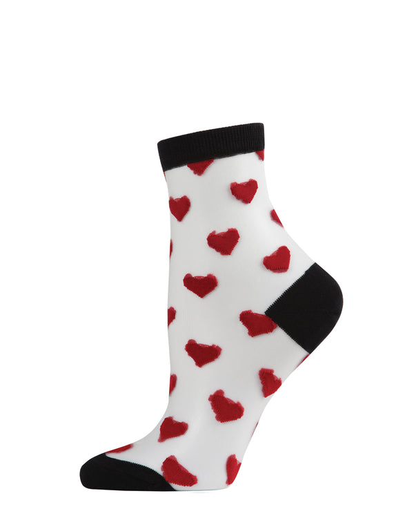 Hearts Mono Fine Net Anklet Socks | Anklet socks | MAF06082 | Black Red