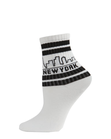 New York Skyline Anklet Socks | Novelty Anklet Socks by MeMoi® | NYC Women's Statement Socks | White MAF06096 -1
