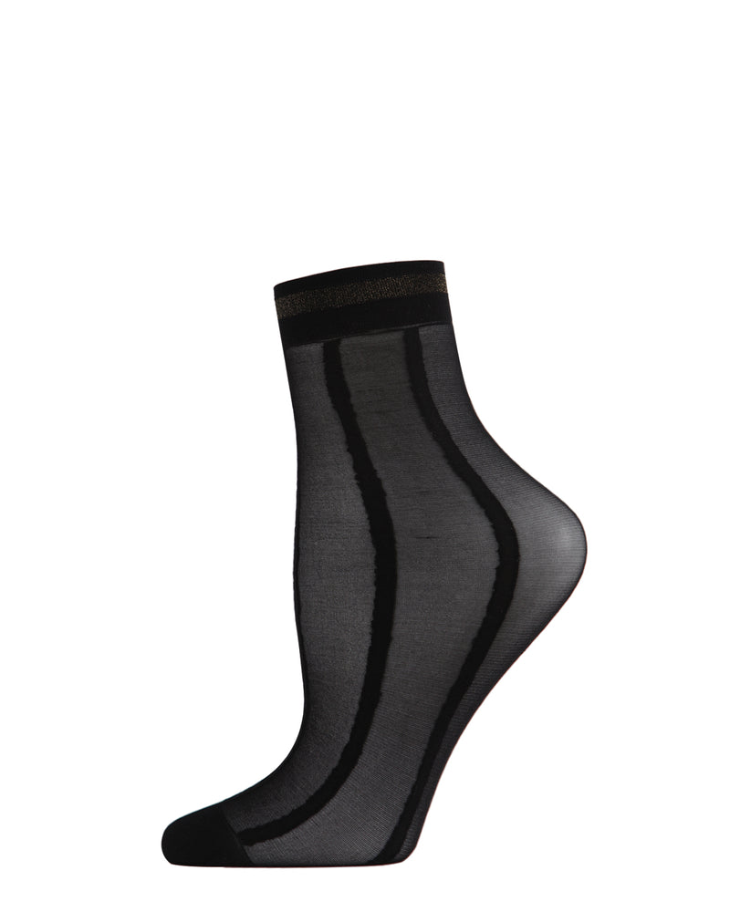 Metallic Stripe Anklet Sheer Socks | Sheer Socks by MeMoi | Black MAF06106