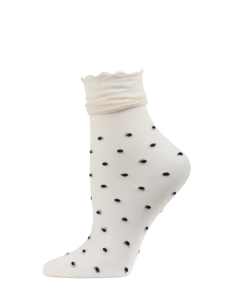 Polka Dot Ruffle Anklet Socks | Anklet Sheer Socks by MeMoi | Ivory MAF06107