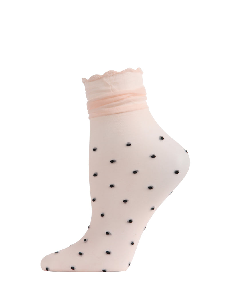 Polka Dot Ruffle Anklet Socks | Anklet Sheer Socks by MeMoi | Peach MAF06107