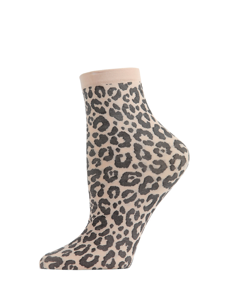 Classic Leopard Anklet Socks | Crew Fashion Socks by MeMoi® | Women's Socks | Sand MAF06137