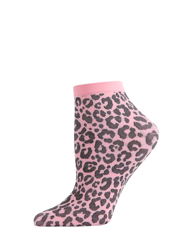 Classic Leopard Anklet Socks | Crew Fashion Socks by MeMoi® | Women's Socks | Pink MAF06137