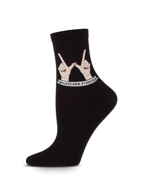 Whatever Forever Print Anklet Socks | Fashion Anklet Socks by MeMoi® | Black MAF06234