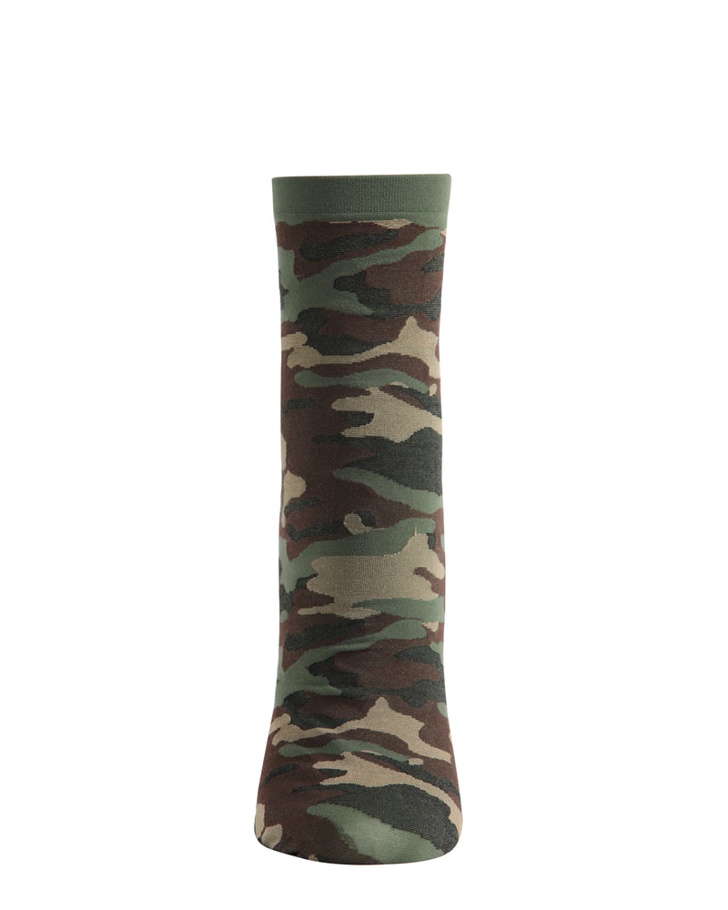 You Can't See Me Camo Anklet Socks | Fashion Camouflage Socks by MeMoi® | Green MAF06238 -2