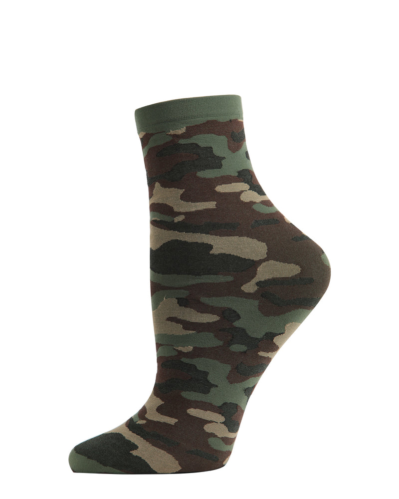 You Can't See Me Camo Anklet Socks | Fashion Camouflage Socks by MeMoi® | Green MAF06238