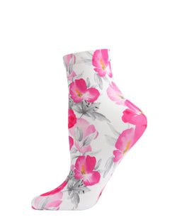 Pansy Printed Anklet Socks | Cute Fashion Floral Socks by MeMoi | MAF06247