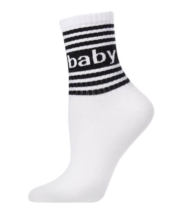 Baby Girl Anklet Socks | Novelty Socks by MeMoi® | Women's Statement Socks | White MAF06278