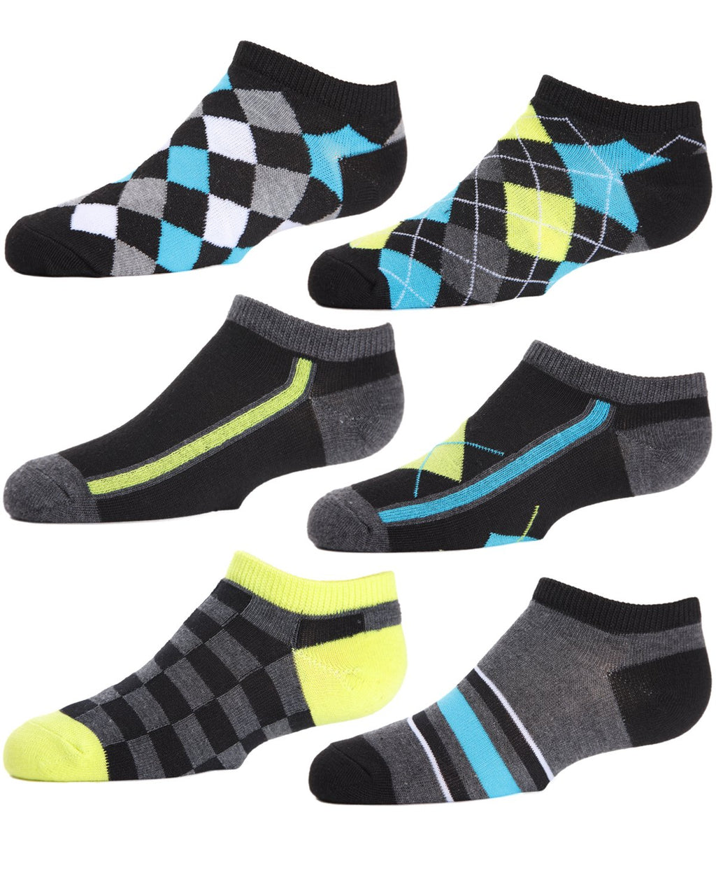 Argyle Flow Boys Low Cut Socks Six-pack