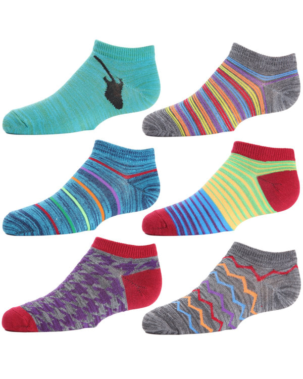 Mixed-up Madness Boys Low Cut Socks Six-pack