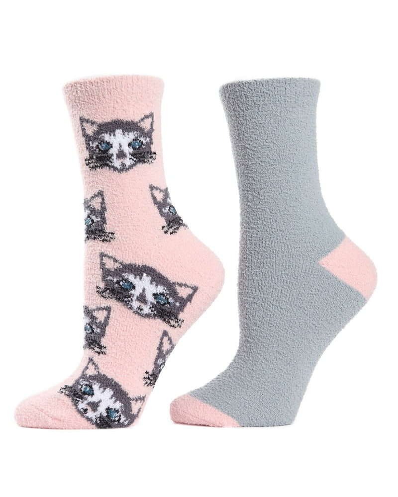 Cats Conversational Cozy 2 Pair Pack | Fun Women's Novelty Socks by MeMoi |  Powder pink MCC02507