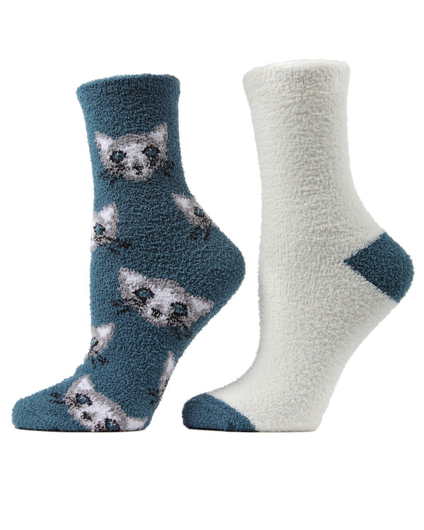 Cats Conversational Cozy 2 Pair Pack | Fun Women's Novelty Socks by MeMoi | Ink Blue MCC02507
