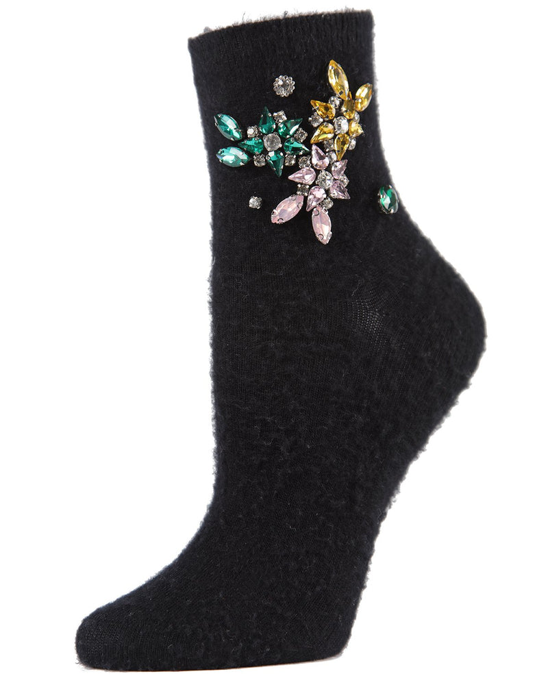 MeMoi Brushed Jeweled Crew Socks