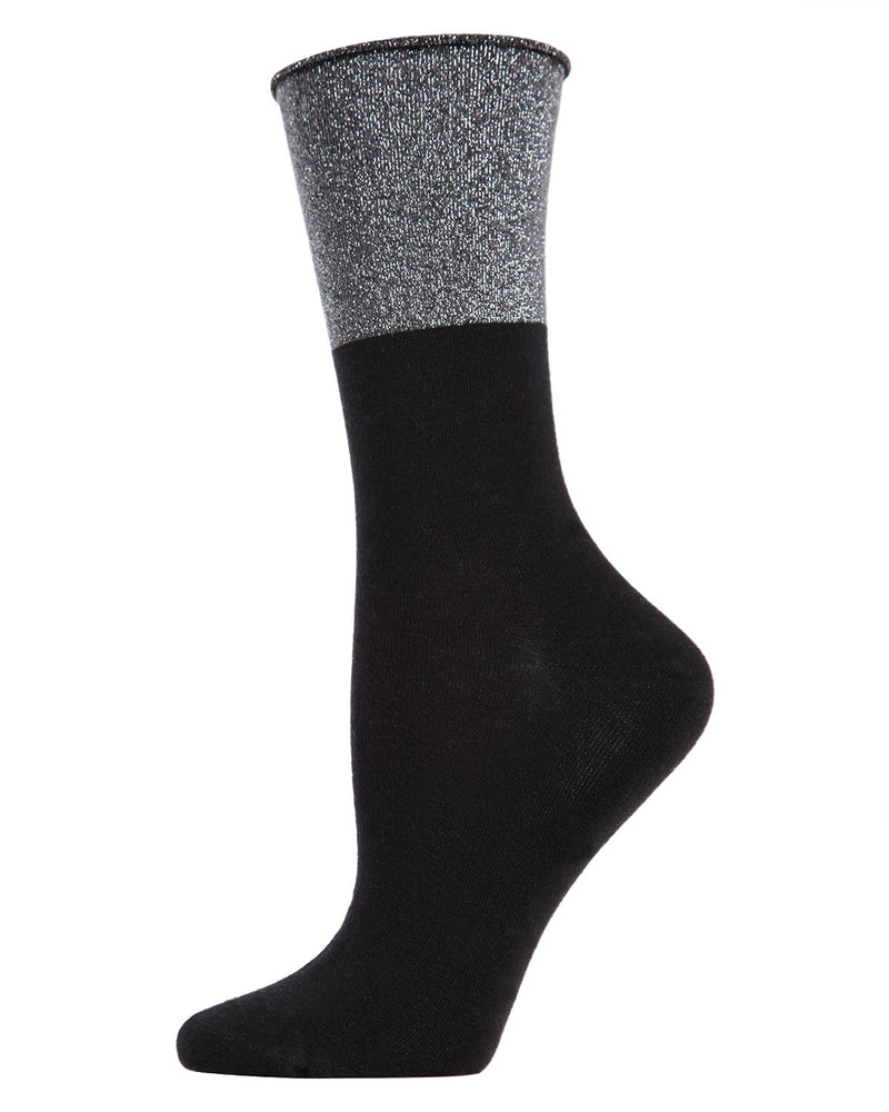 Totally Awesome Metallic Cuff Crew Socks | womens fashion socks by MeMoi | womens clothing | MCF05361-00001-9-11 black -1
