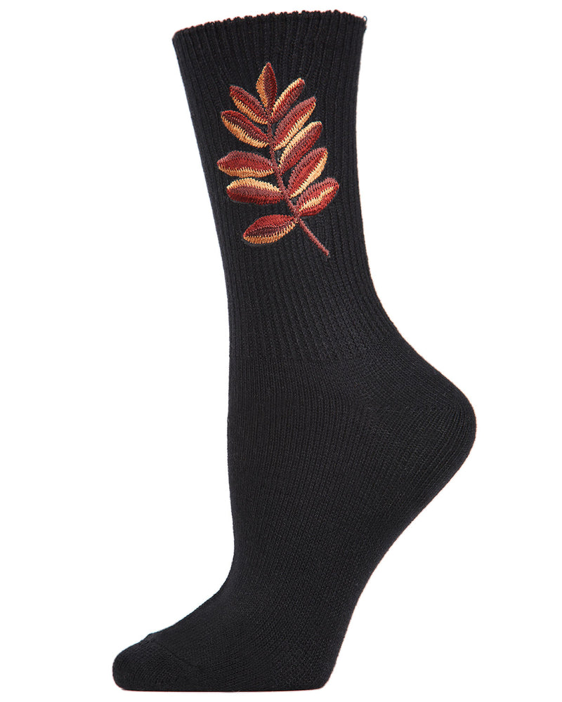 Golden Leaf Retro Crew Socks | Socks By MeMoi®  | MCF05385 | Black