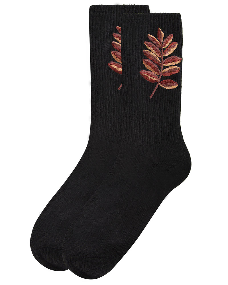 Golden Leaf Retro Crew Socks | Socks By MeMoi®  | MCF05385 | Black 2