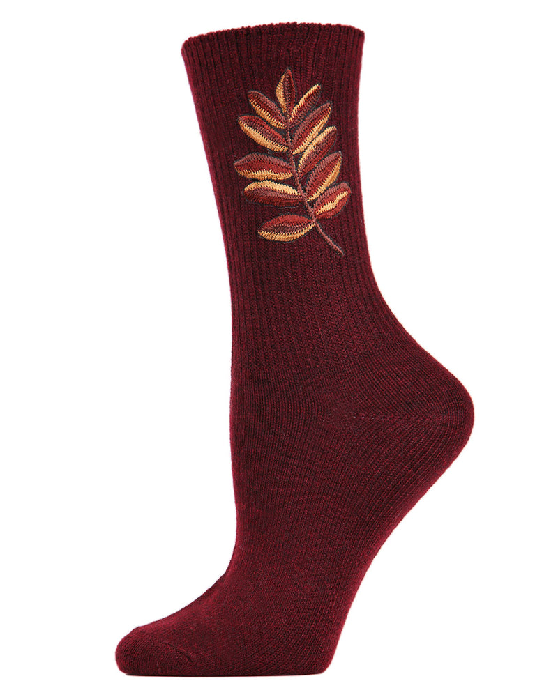 Golden Leaf Retro Crew Socks | Socks By MeMoi®  | MCF05385 | Burgundy