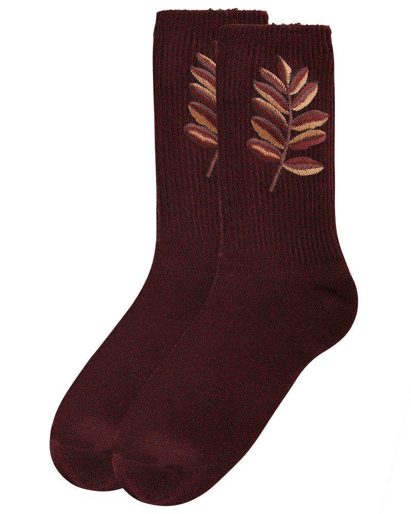 Golden Leaf Retro Crew Socks | Socks By MeMoi®  | MCF05385 | Burgundy 2