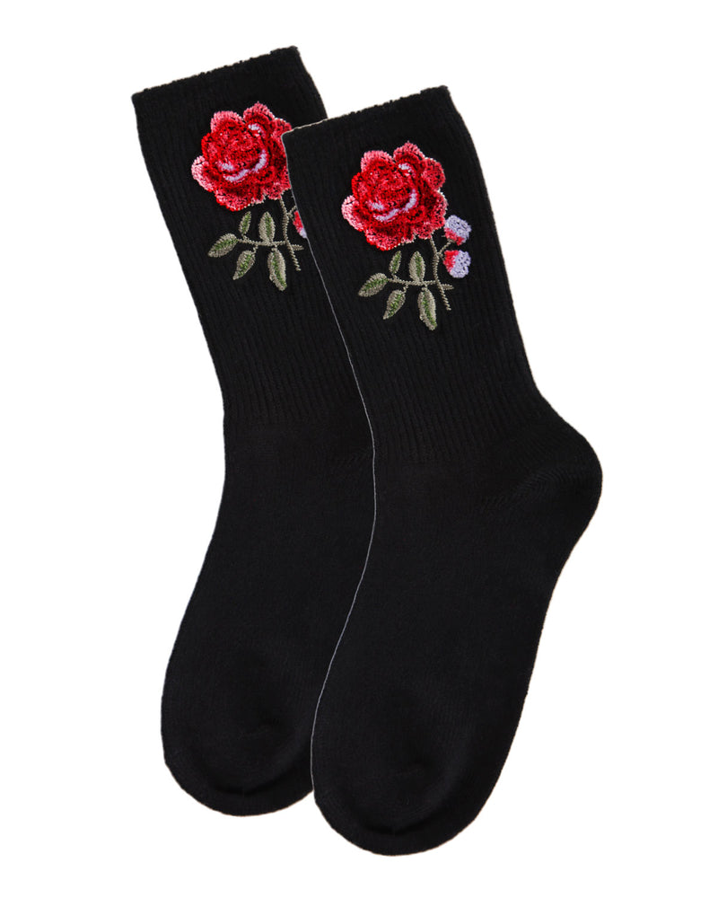 Rose Path Crew Socks | Socks By MeMoi®  | MCF05387  | Black 2