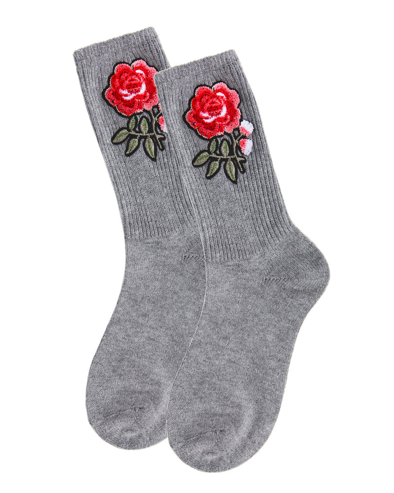 Rose Path Crew Socks | Socks By MeMoi®  | MCF05387 | Gray Heather 2
