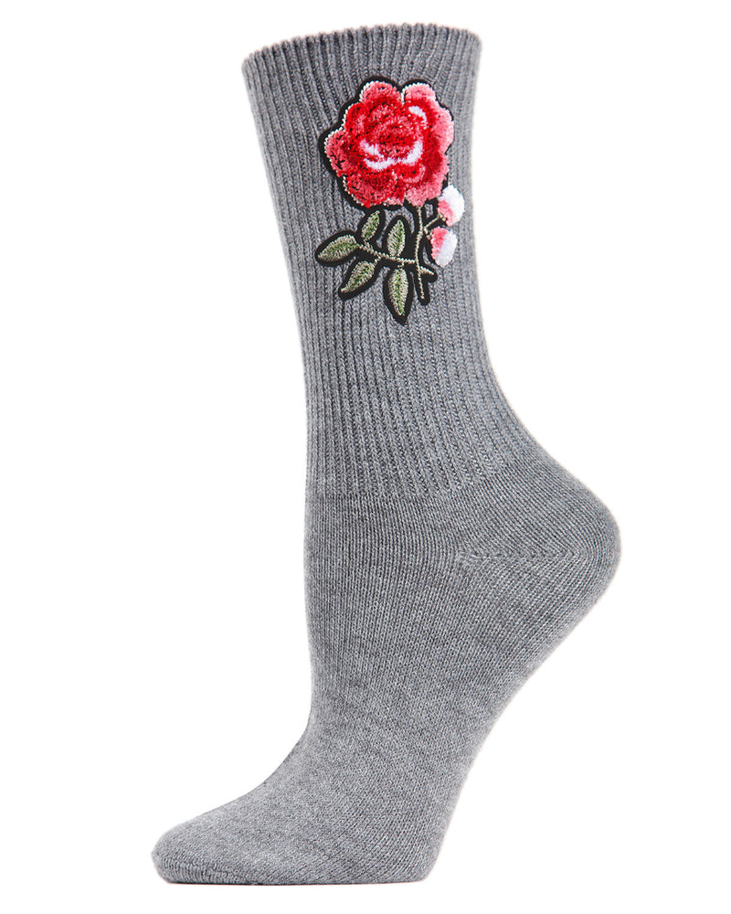 Rose Path Crew Socks | Socks By MeMoi®  | MCF05387 | Gray Heather