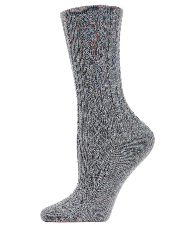 Classic Day Knit Crew Socks | Socks By MeMoi®  | MCF05388 | Gray Heather