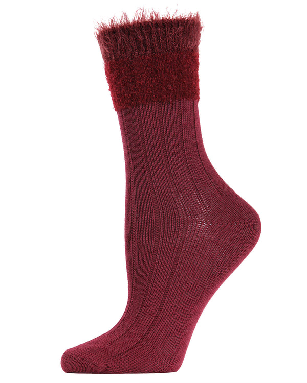 Parfait Striped Crew Socks | Socks By MeMoi®  | MCF05390   | Burgundy
